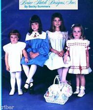 Sewing Smocking PATTERN Smocked Girls Yoke Dress Square Collar Sizes 5-8