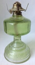 Vintage Green Flashed Oil Lamp Pressed Glass Kerosene P&A Burner No Chimney