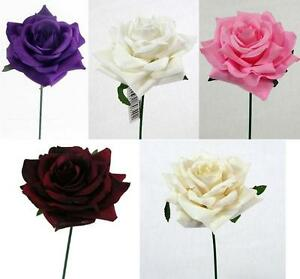 10 x Artificial Curved Single Rose - Many Colours - For Weddings/Crafts/Decor