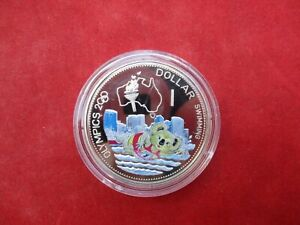 Solomon Islands 1 Dollar From 2000 OLYMPIA Sydney Koala Swimming Pf Proof