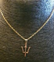 Gold gf stainless Barbados trident Flag Caribbean Country Pendant Necklace Chain