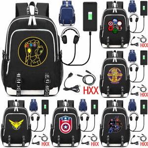 Marvel Avengers Backpack Thanos Captain Marvel USB School Shoulder Laptop Bags