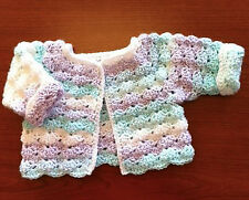 """Crochet Pattern -Baby Girls Cardigan (20"""" can be made smaller) PO098"""