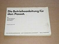 VW Passat I 1979 Betriebsanleitung Bedienungsanleitung Handbuch