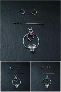 3x Nail Piercing Dangle Nagelpiercing mit Glitzer Strassstein Kreis mit Herz