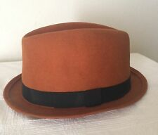 Fedora Hat by M&M Stingy Brims - Rust Brown  - size 7 1/4 - Made in the USA