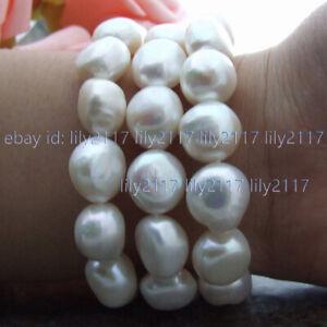 """8"""" 3 Rows Huge Natural 13-14mm Akoya Feashwater White Baroque Pearl Bracelet AAA"""