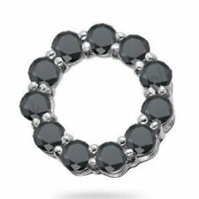 Last Piece ..! 3.50 Ct Black Diamond Roulette Pendant , White Gold With Chain