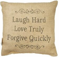 "LAUGH HARD LOVE TRULY FORGIVE QUICKLY Small Burlap Pillow - 8"" x 8"""