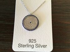 925 STERLING SILVER SAPPHIRE, CUBIC ZIRCON STONES EVIL EYE NECKLACE N-1314