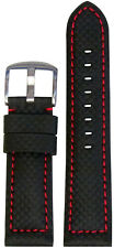 22mm Panatime Black Carbon Fiber Style Watch Band w/Red Stitch 115/75 22/20