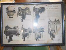 Antique saddle poster / print framed.