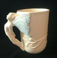 Three Dimensional Fairy Sprite Pixie Mug Ivory and Blue China