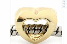 Oro Abierto Corazón Amor pulsera con dijes Regalo PD diapositiva grano europeo granos encantos
