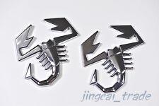 2pcs Abarth Scorpion Logo 3D Metal Car Auto SUV Badge Emblem Decal Sticker Fiat
