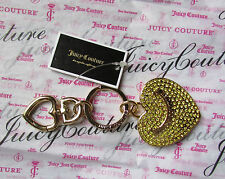 Juicy Couture Key Ring fob Purse Charm BIG Flat Yellow Pave Heart NWD