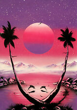 spray paint art space painting ,oil on wood,original art/Dolphins at pink sunset
