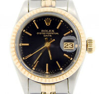 Rolex Date Ladies 2Tone 14K Yellow Gold & Stainless Steel Watch Black Dial 6917