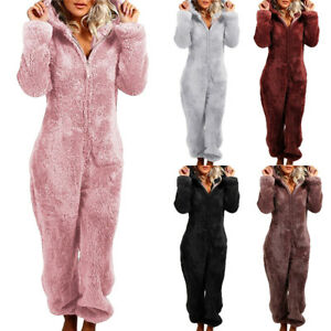 Women Pajama One Piece All in One Aztec Zipper Hoodies Fleece Playsuit Jumpsuits