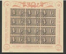 SCHWEIZ 1943 Luxuskleinbogen 100 Jahre Schweizer Briefmarken Block Ersttag