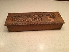 Vintage Old Pyrography Burnt Wood Dresser Box Gloves Lady Daisies Color Pretty