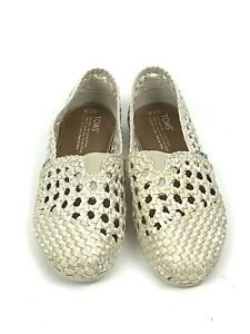 Toms Classics Ivory Satin Weave  Flats Open Casual Shoes Women's Size 7.5 M