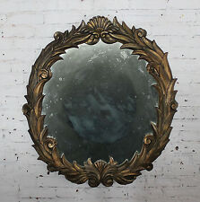 ON SALE! Large Antique Foliate Round Plaster Mirror Style of Serge Roche