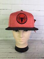 Marvel Spiderman Embroidered Logo Red Black Fabric Adjustable Snapback Hat Cap