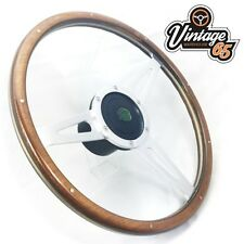 "Land Rover 15"" Classic Wood Rim Steering Wheel Fitting Boss Badged Horn Upgrade"