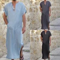 Mens Moroccan Arab Kaftan Kurta Shirt Long Thobe Gown Dishdasha Arab Robe Causal