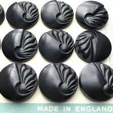 12 Black 2.2cm Vintage 1940s Bakelite VERY Deco Buttons  Made in England