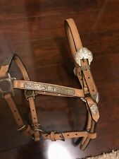 Leather and silver showmanship horse show halter light color