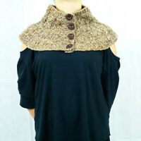 Brown Winter Handmade Wool Victorian Scarf Buttoned Turtleneck Warmer Women Gift