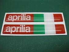 2 Aprilia semicirculares pegatinas con una bandera italiana Rojo/blanco 78mm X 13mm