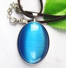 sea blue oval Cat Eye Stone set Tibetan silver pendant 18inch 50x33x8mm  BD236