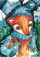 FOX THE TRAVELER  Modern Russian postcard by S.Nemarmeladova