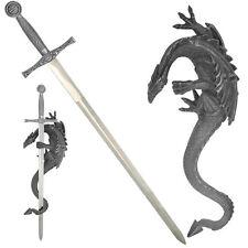 """HK-555 Fantasy Short Sword 17"""" Overall Fixed Blade Knife Dragon Holder"""