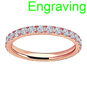 Titanium Round Cubic Zirconia Rose Gold Plated Eternity Band Women Wedding Ring