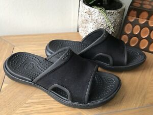 Crocs black unisex flip flops slides slip on 8