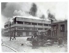 1942 Vintage Photo Firemen Japanese bombing in Port Area Manila Philippines WW2