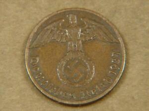 1937-A Germany 1 Pfennig Nazi Swastika Coin