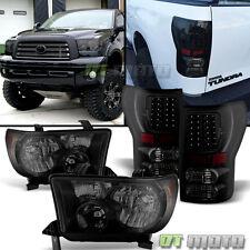 Black Smoked 2007-2013 Toyota Tundra Headlights +LED Tail Brake Lamps Lights