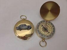 Sunbeam Stiletto ref243 Pewter Effect car emblem on a Golden Compass