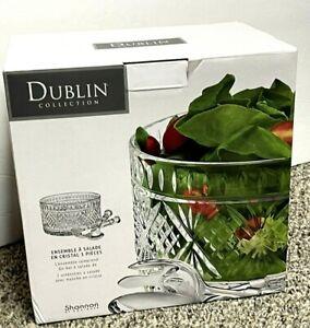 Dublin Shannon by Godinger new 3 Piece Crystal Salad Set Salad Servers  NIB