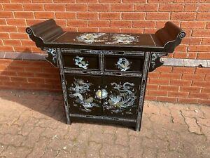Oriental Chinese Black Lacquer & Mother of Pearl Alter Style Sideboard  - CS W79
