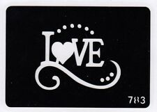 GT783 Body Art Temporary Glitter Tattoo Stencil Love
