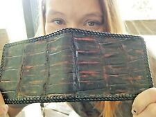 NEW Authentic ALLIGATOR Wallet bi-Fold Men Billfold Gator Original Slim Pocket