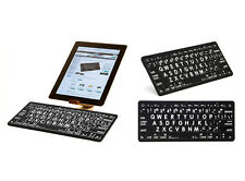 Large Print Black Keys with White Print - Bluetooth Mini Keyboard for iPads