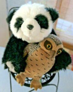 Panda Bear Cub 20cm plush animal Wild Republic + Antics plush OWL with sound