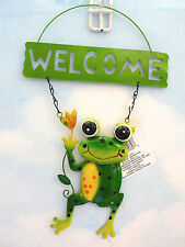 Home Garden Pool Yard Patio *Frog Welcome Sign* Yellow Flower Brand New Wtgs